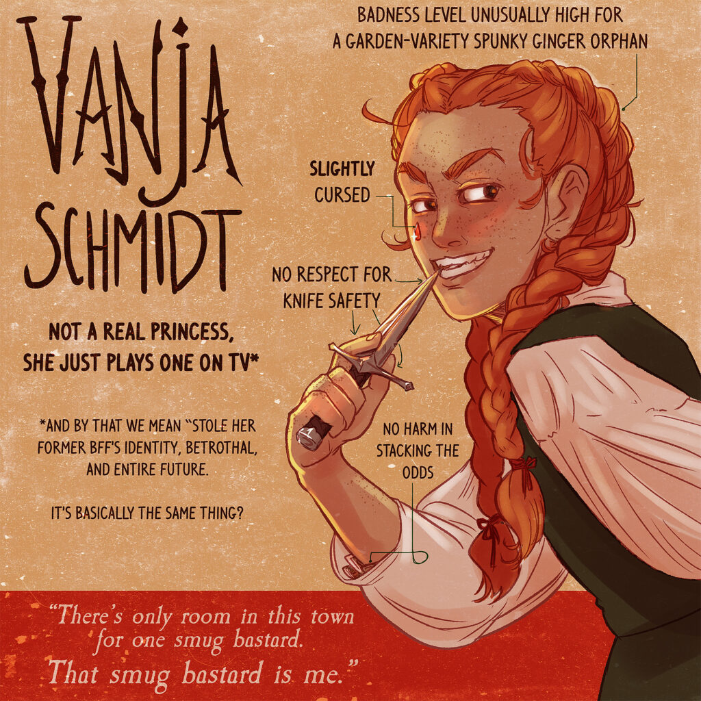 A character image of a red-haired girl with braids smirking, with descriptive text.